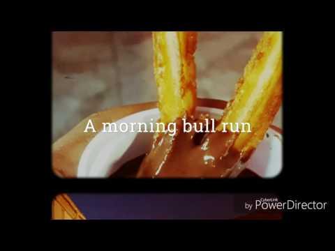 A morning bull run in the province of Avila (Spain)
