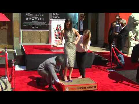 Sandra Bullock handprints on Chinese Theatre cement