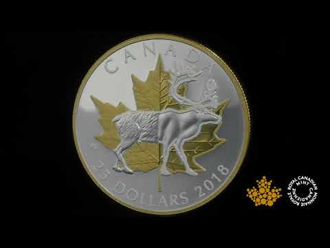 1 oz. Pure Silver Gold Plated Piedfort - Timeless Icons: Caribou