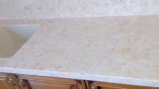 Столешница из искусственного камня и стеновая панель под мрамор с влитой мойкой от АПАРХ г. Тула(Каменная столешница из искусственного камня