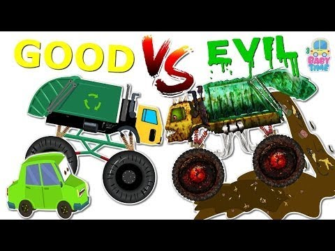 Good Vs Evil   Garbage Truck   Street Vehicles For Kids   Milk Van, Crane, Rock Truck, Toy Train
