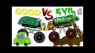 Good Vs Evil | Garbage Truck | Street Vehicles For Kids | Milk Van, Crane, Rock Truck, Toy Train