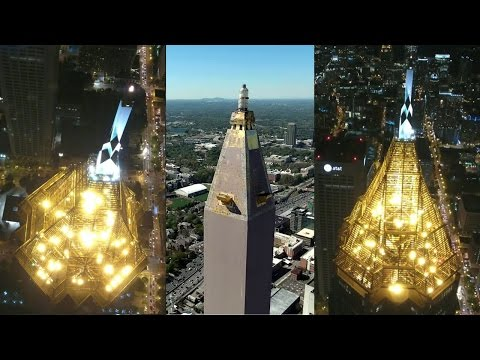 UAV/Drone Views of Atlanta's Tallest Skyscraper (BOA Plaza) with Midtown Skyline (time-lapse)