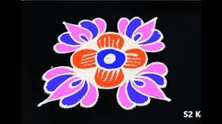 simple and cute rangoli designs with dots * easy lotus kolam designs * lotus muggulu designs