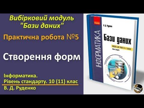 Практична № 5. Створення форм | Вибірковий модуль Бази даних | 10(11) клас | Руденко