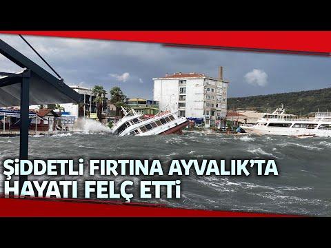 Ayvalık'ta Fırtına Dehşeti...Balıkçı Tekneleri Parçalandı