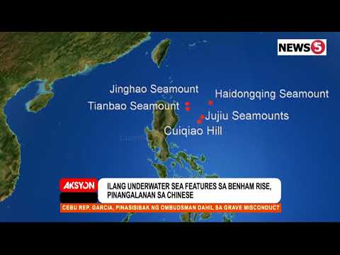 China has successfully named five undersea features at the Philippine Rise.