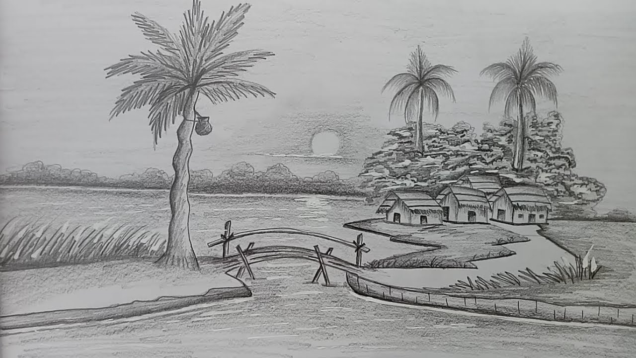 How to draw Winter season scenery of pencil sketch.Step by step(easy draw) #1