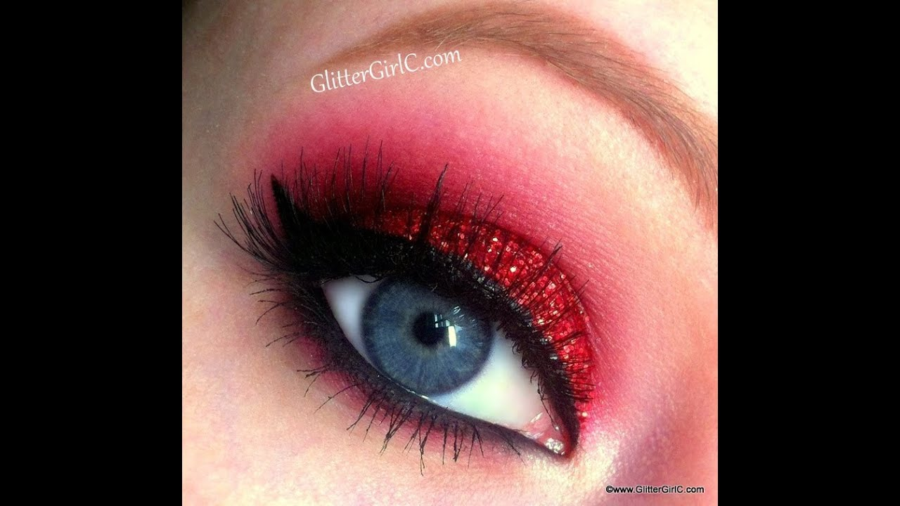 Red Glittery Christmas Look Makeup Tutorial Youtube