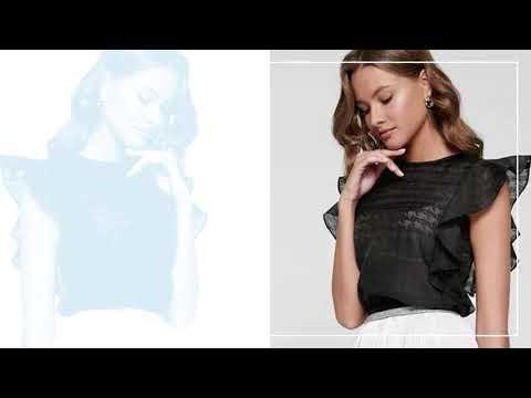 Блузка с воланами из полупрозрачного полотна с рисунком. Купить в интернет-магазине Ganesa.shop