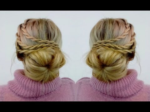 SUPER EASY HAIRSTYLE EASY BUN WITH ROPE BRAIDS | Awesome Hairstyles  ✔