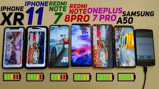 КТО ДОЛЬШЕ ПРОДЕРЖИТСЯ? REDMI NOTE 8 PRO, IPHONE 11, АЙФОН XR,REDMI NOTE 7,ONEPLUS 7 PRO,SAMSUNG A50
