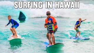 What's In the WATER?!! Kids Surfing in Hawaii!