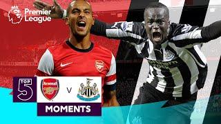 Arsenal vs Newcastle United | Top 5 Premier League Moments | Walcott, Tiote, Van Persie