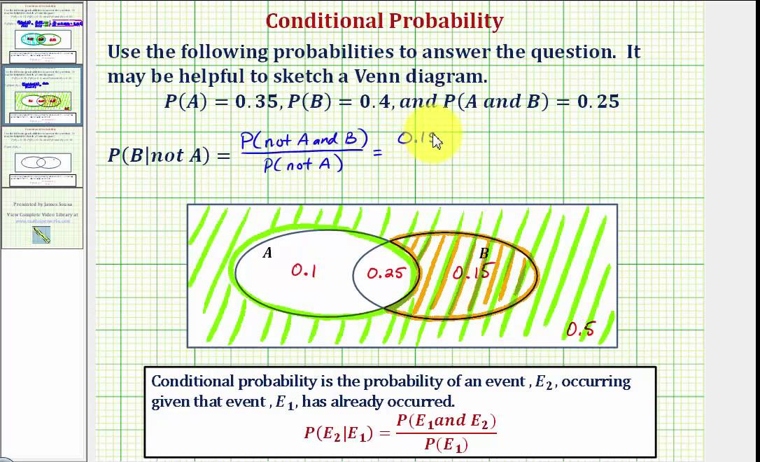 Ex 2: Determine a Conditional Probability Using a Venn Diagram  P(B|not A)  YouTube