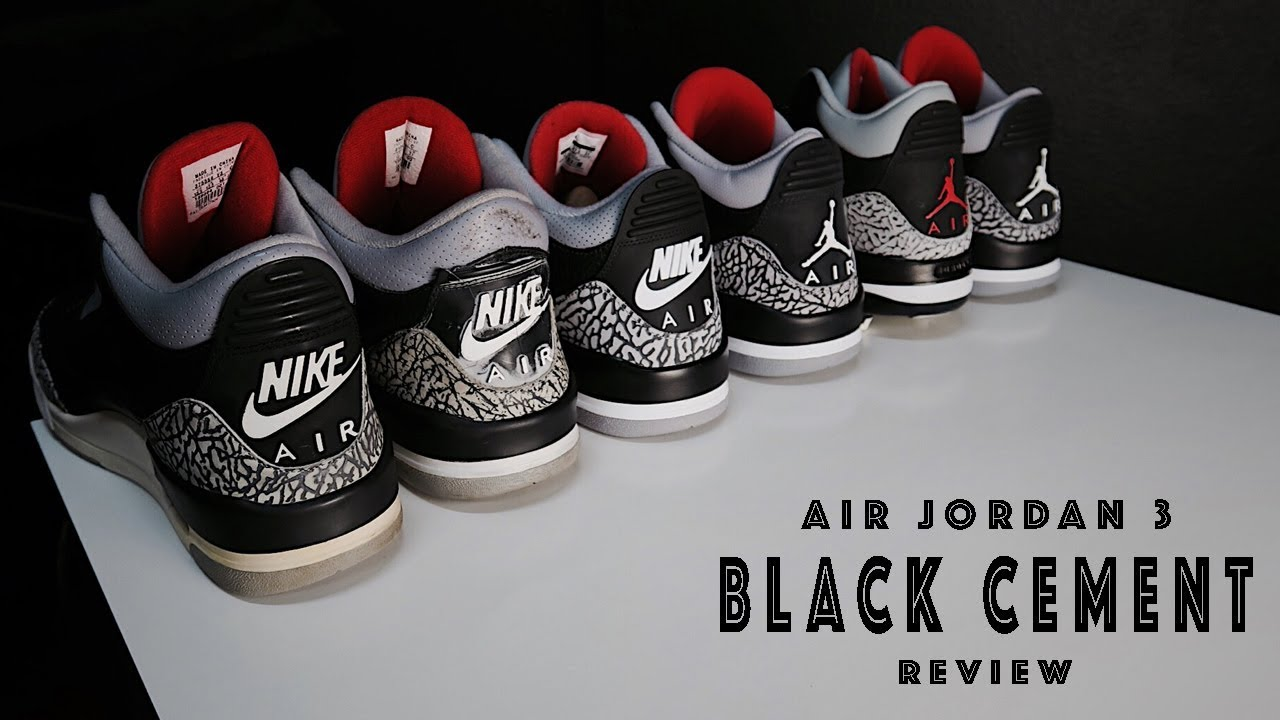 best service 44d0b eff2c Air Jordan 3 III Black Cement Retro Comparison 2001 2018 ...