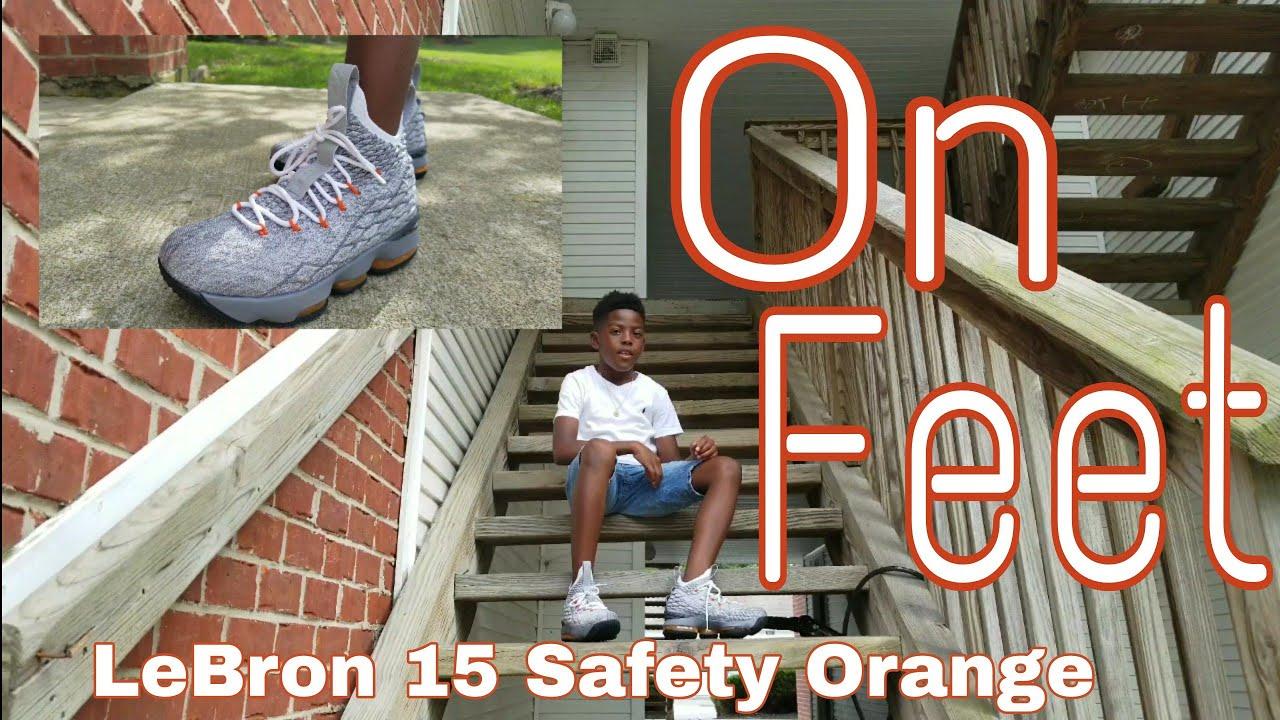 LeBron 15 Safety Orange On Feet review