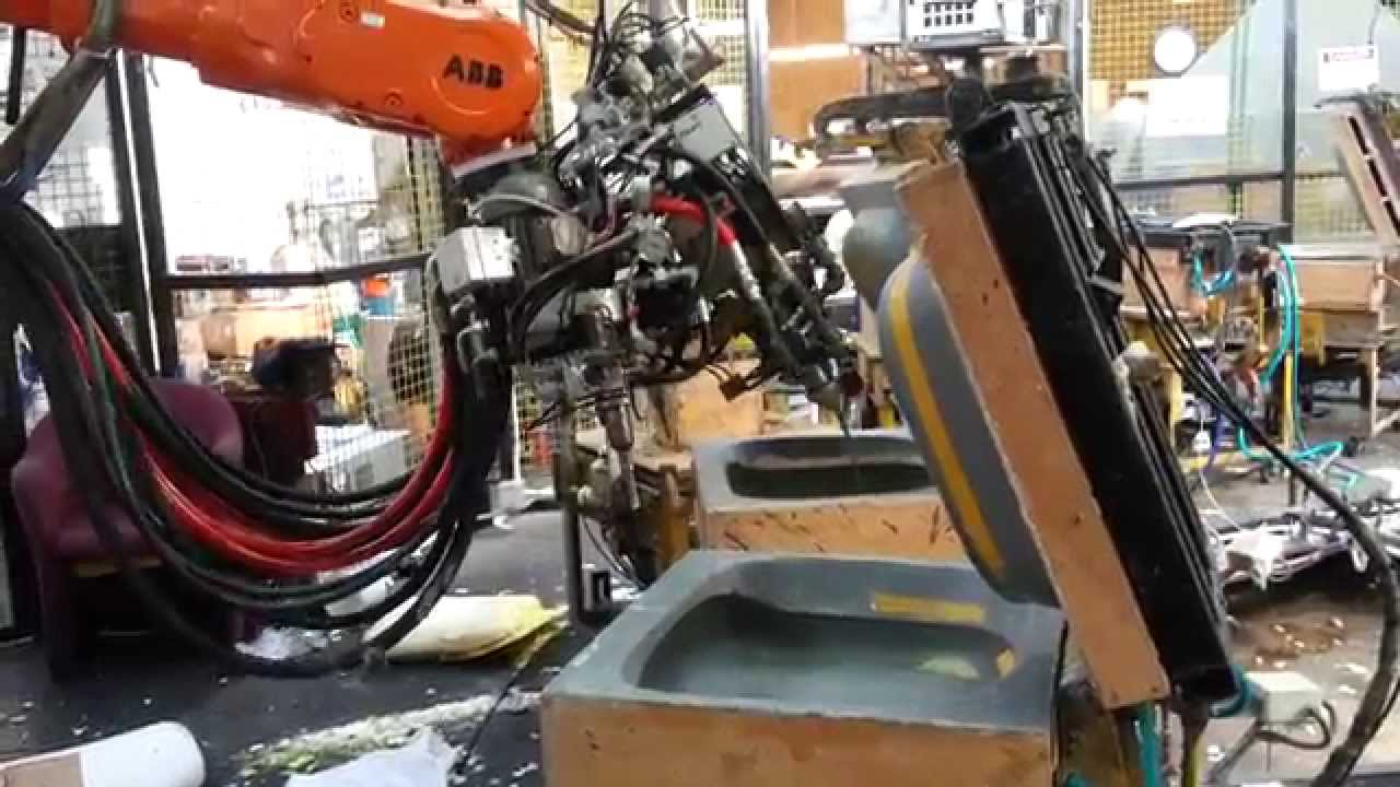 Abb Robot Pouring 3 Urethane Foam Machines Into Custom