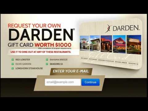 how to get free restaurant gift cards | Get a Darden $1000 Gift ...