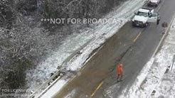 11-14-2018 Forrest City, Ar Car crash on icy bridge closes I40 West backs up traffic for miles drone