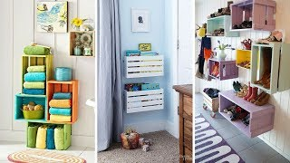 💓 5 Creative Wall Storage Ideas Using Wood Crate 💓