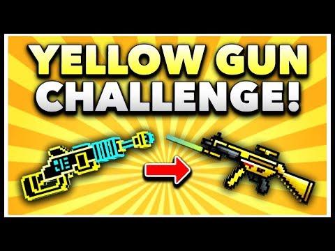 Pixel Gun 3D - Yellow Gun Game Challenge! (Using ALL Yellow Weapons)