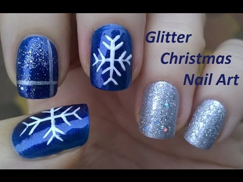 CHRISTMAS NAIL ART Tutorial In Blue & Silver - Easy ...