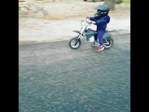 Gage riding his electric dirt bike
