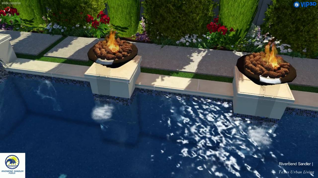 Plano Pool Supply | Grecian Pool with Fire and Water Bowls