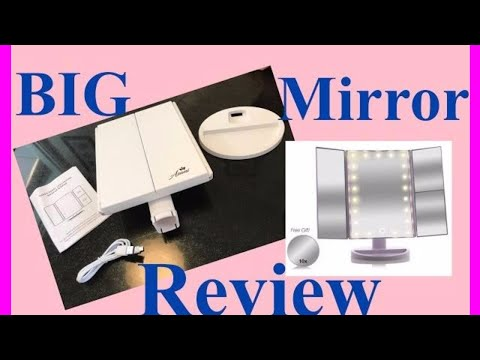 Tri-Fold Lighted Magnification Makeup Mirror