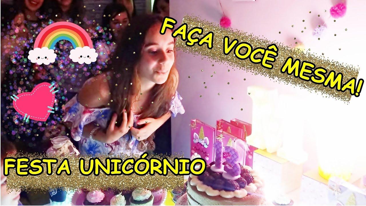 DECORA u00c7ÃO FESTA UNICÓRNIO EM CASA FA u00c7A VOC u00ca MESMA YouTube -> Decoração De Festa Unicórnio Infantil