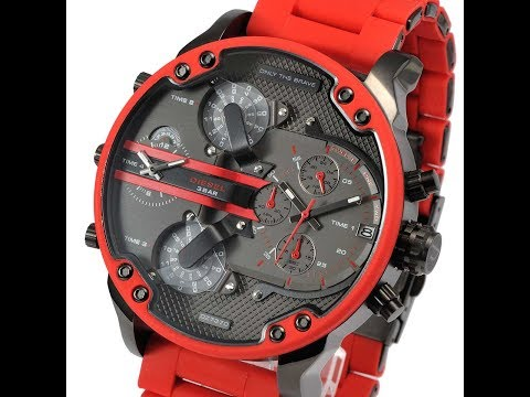 2862d8aab878 DIESEL DZ7370 MENS WATCH MR.DADDY CHRONO RED GRAY SILICONE REVIEW ディーゼル レッド  レビュー メンズ