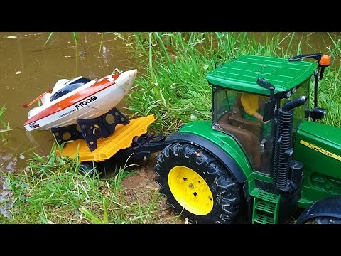 BRUDER RC tractor and RC BOAT water ride