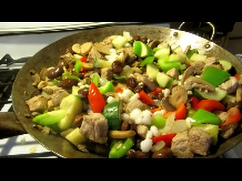 pork/veggie stir fry wok cooking