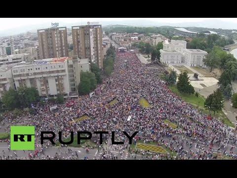 Macedonia: Drone captures HUGE anti-gov protest in Skopje