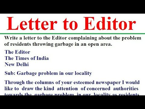 Letter to Editor for Garbage Problem in the Locality |
