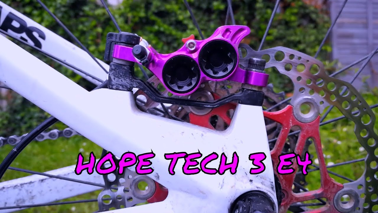Rear with Black Hose Brake Hope Tech 3 V4 Purple Right Brand New