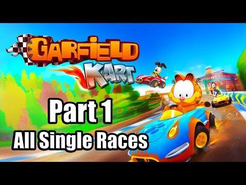 GARFIELD KART FURIOUS RACING Gameplay Walkthrough Part 1 (All Single Races) - No Commentary