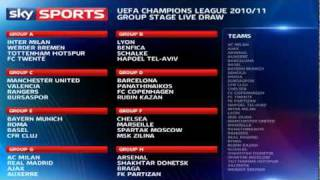 UEFA Champions League 2010/2011 Group Stage Draw (26-08-10)