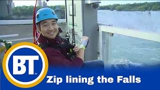 Riding the new Mistrider zipline at Niagara Falls (Winston Sih)