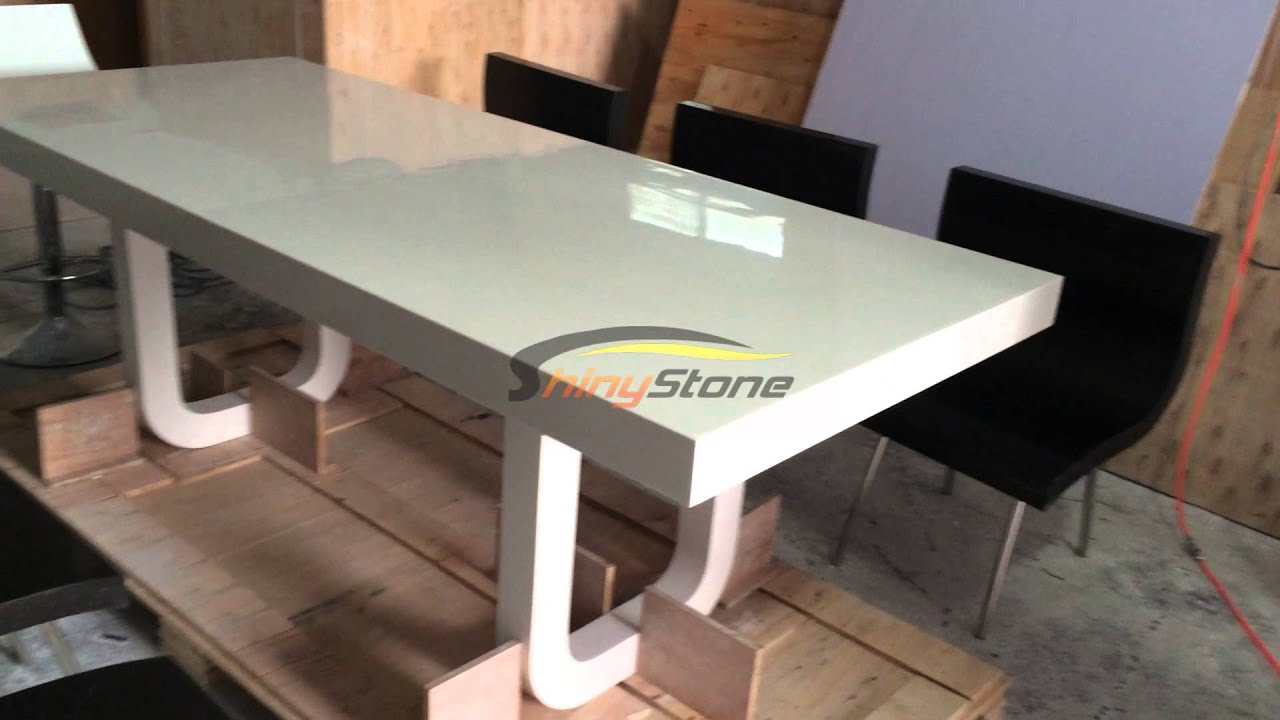 corian artificial stone solid surface dining table and chairs youtube. Black Bedroom Furniture Sets. Home Design Ideas
