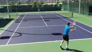 Andy Murray Julien Benneteau Indian Wells BNP Paribas Open 2015 3/10/2015 Practice