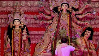 A man worshiping goddess durga with a pure holy flame in his hands - Navratri