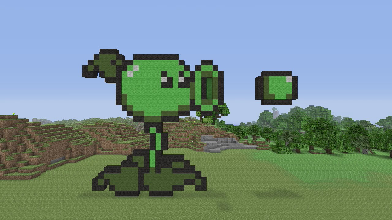 Minecraft Pixel Art Peashooter From Plants Vs Zombies