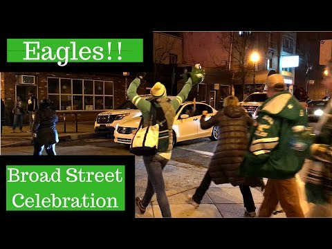 Eagles Fans Celebrate beating the Viking - Broad and South Street - Philadelphia - NFC champions