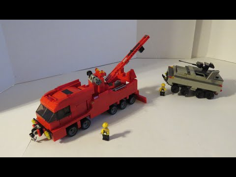 LEGO Custom Tow Truck MOC, Working Winches Crane Boom To Lift\Move Vehicles, Working Suspension