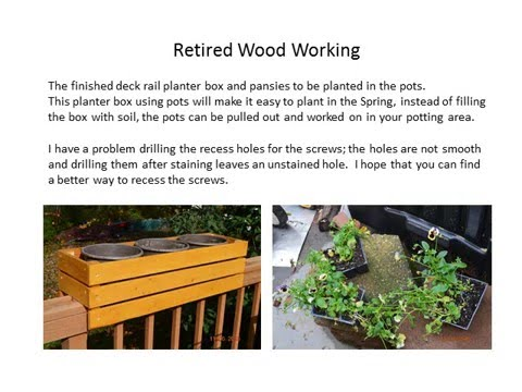 Retired Wood Working Deck Rail Planter Box - YouTube on wooden fence planters, wooden plant pots, wooden staircase planters, deck rail planters, wooden wall planters, wooden ladder planters, wooden deck planters, wooden patio planters, wooden chairs planters, wooden bench planters, wooden garden planters, wooden step planters,