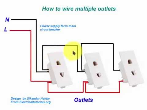 how to wire multiple outlets in urdu hindi video tutoiral youtube rh youtube com 4 Gang Outlet Wiring Switched Outlet Wiring Diagram