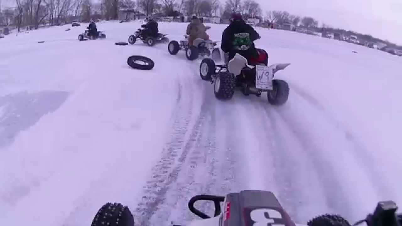 Atv Ice Racing 2014 lake brandt sd Quad TT Open A  Main 1st place trx250r esr330r setup