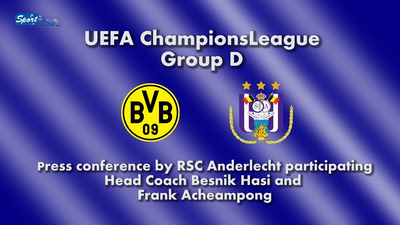 UEFA Championsleague: Borussia Dortmund - RSC Anderlecht: Pk mit Besnik Hasi und Frank Acheampong